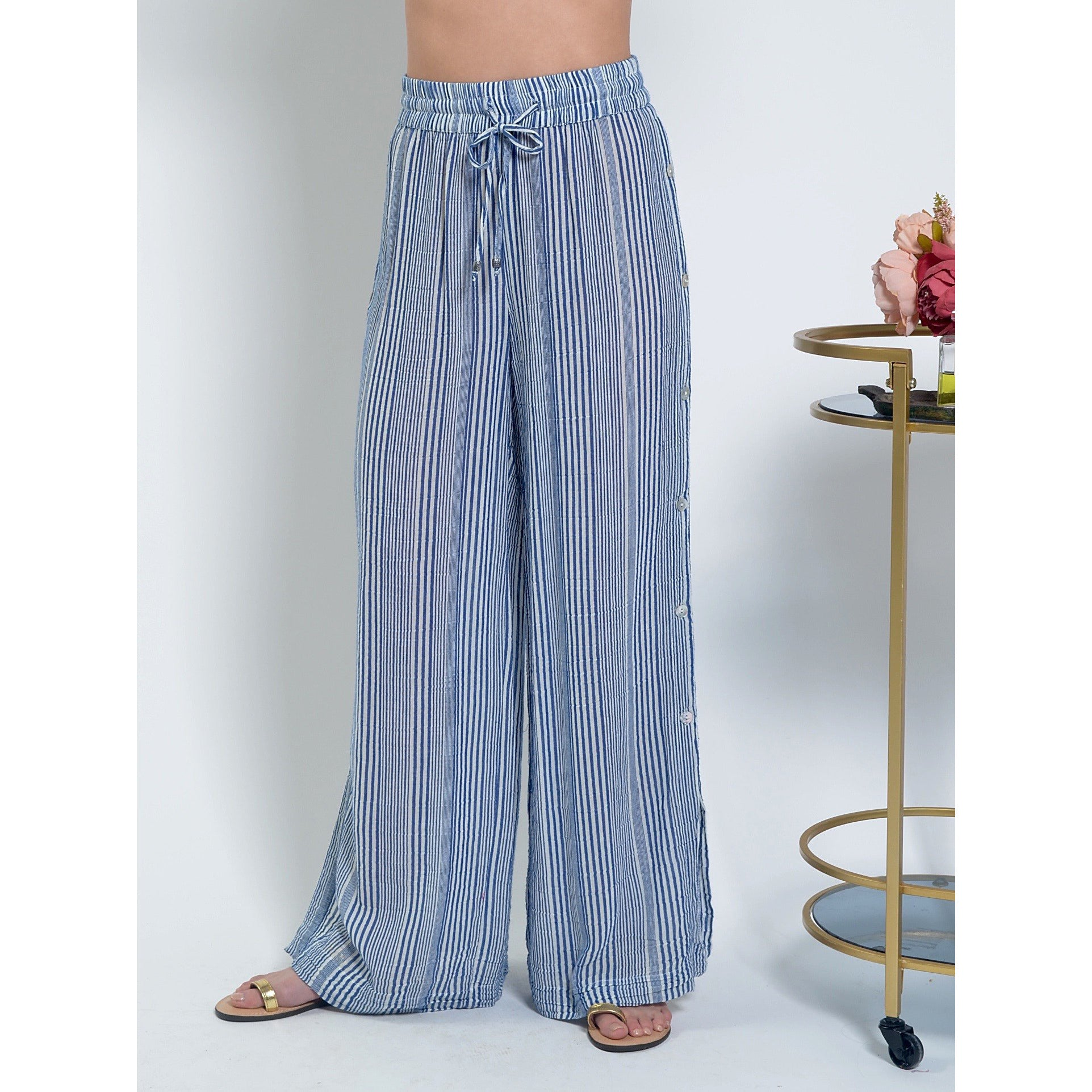 Lula Soul Paros Pant in Blue white stripe