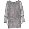 M Made In Italy Woven Long Sleeved Layered Lace Tunic In Grey