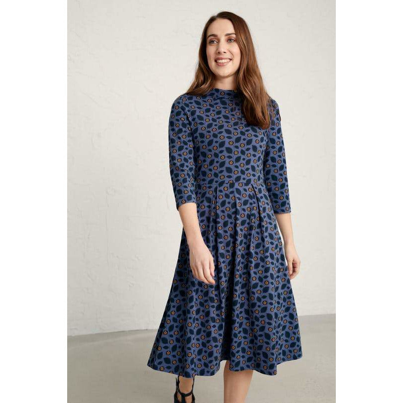 Seasalt Carn Morval Dress in Embossed Flower Wild Pansy