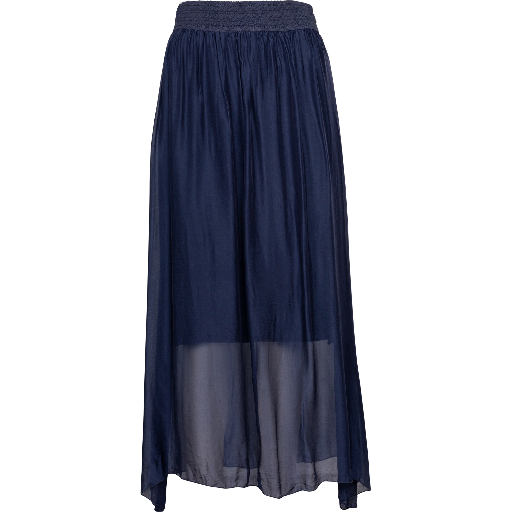 M Made In Italy Woven Skirt in Navy