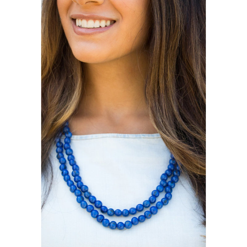 Acai Bead Necklaces by Melko in Cobalt
