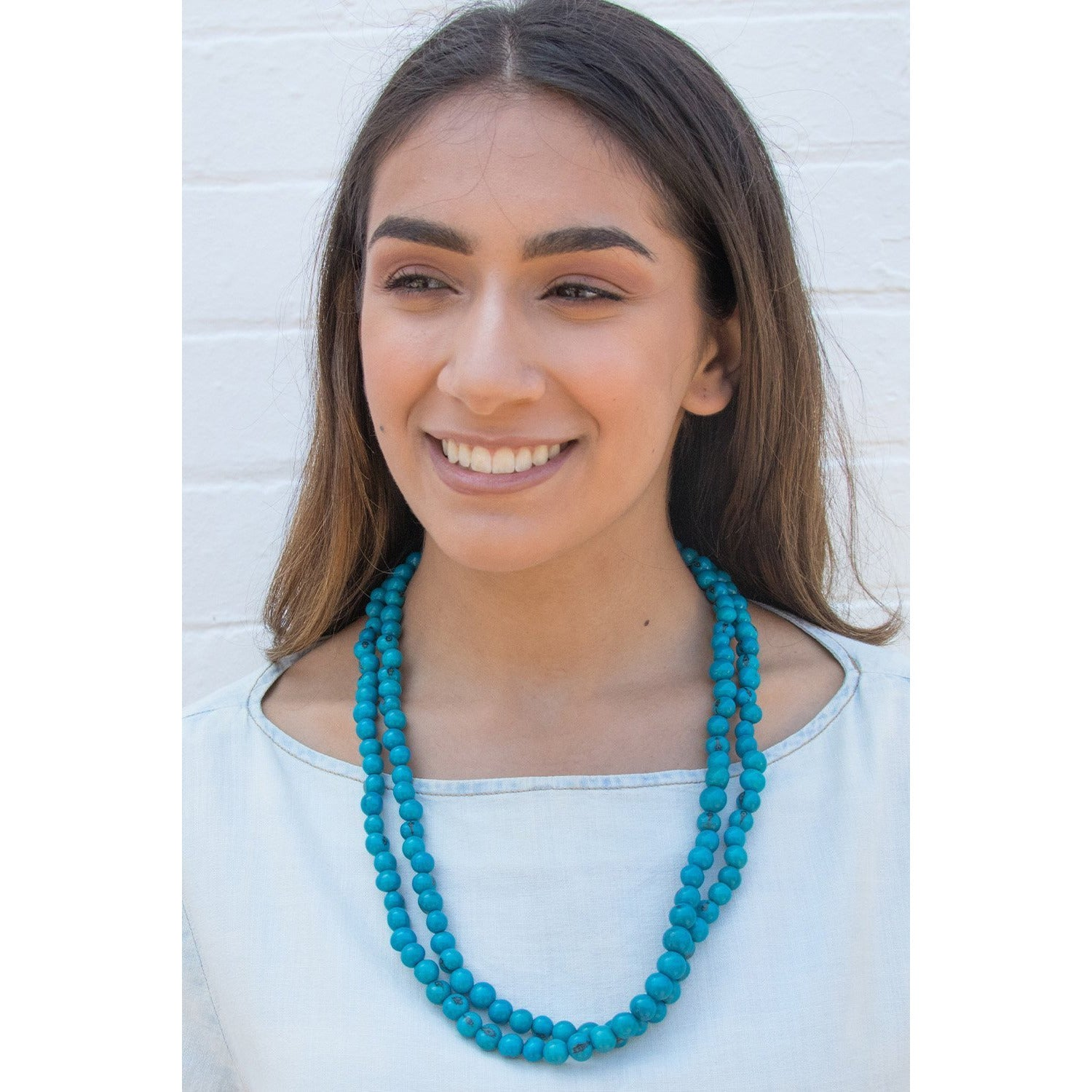 Acai Bead Necklaces by Melko in Light Turquoise