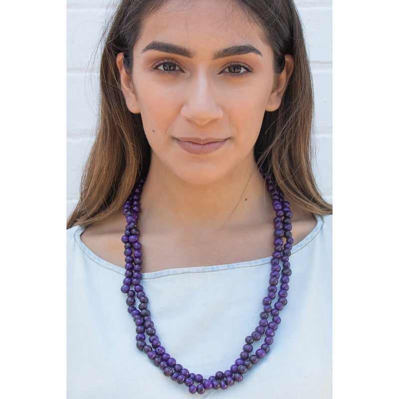Acai Bead Necklaces by Melko in Royal Purple