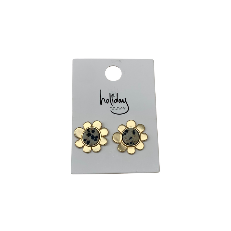 Holiday Daisy Earrings in Leopard