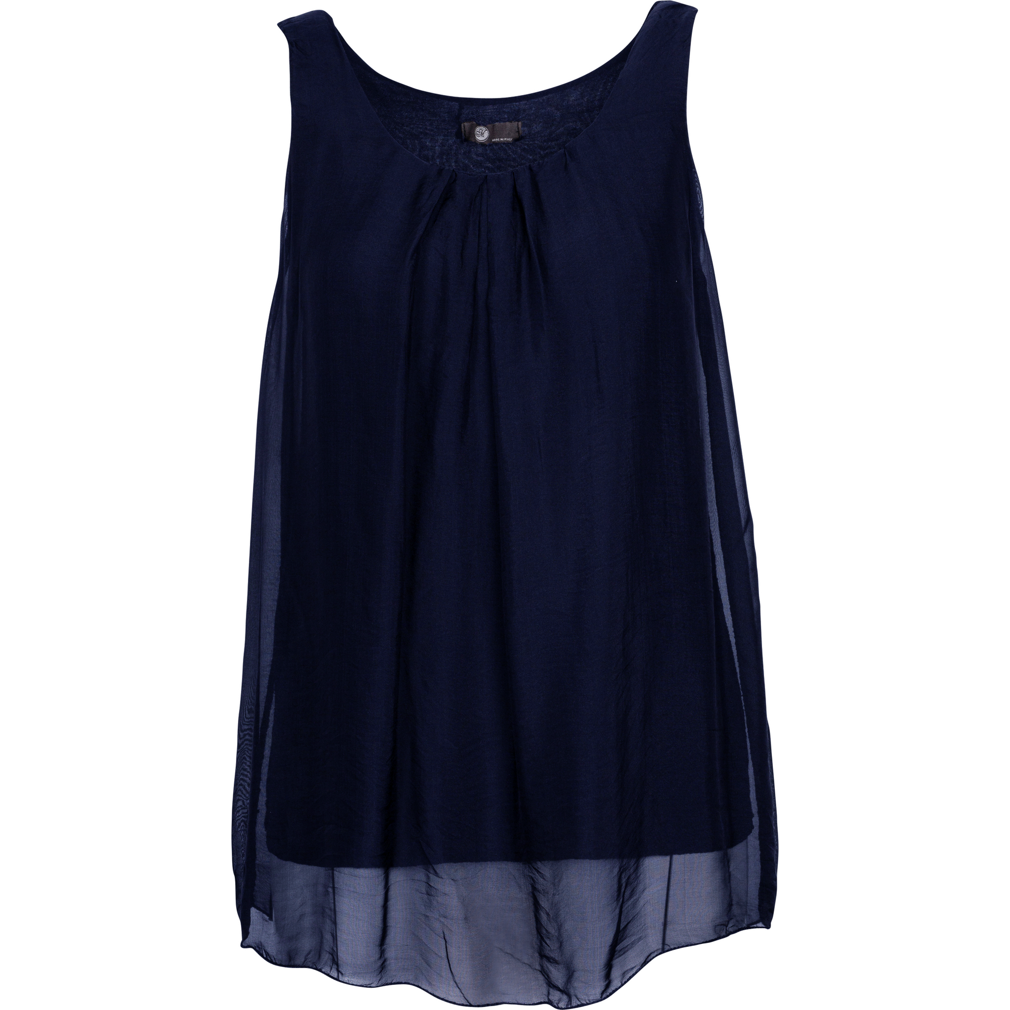 M Made In Italy Woven Sleeveless Top in Navy