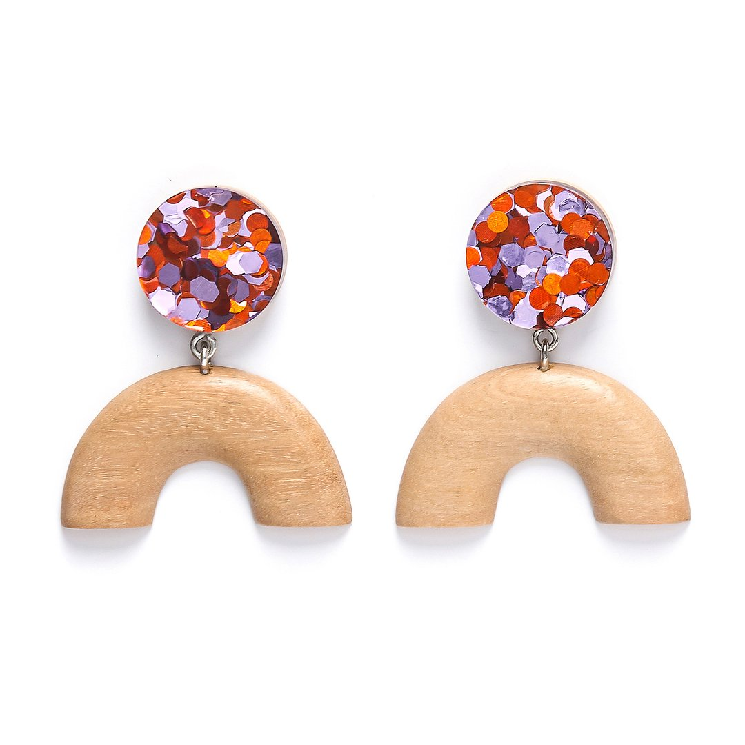 Rare Rabbit Dot U Foil Earrings in Orange