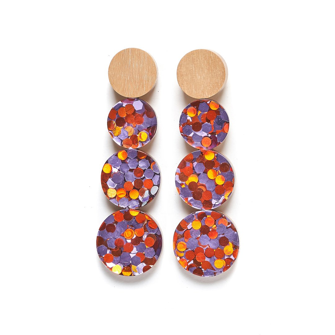 Rare Rabbit Four Drops Foil Earrings in Orange