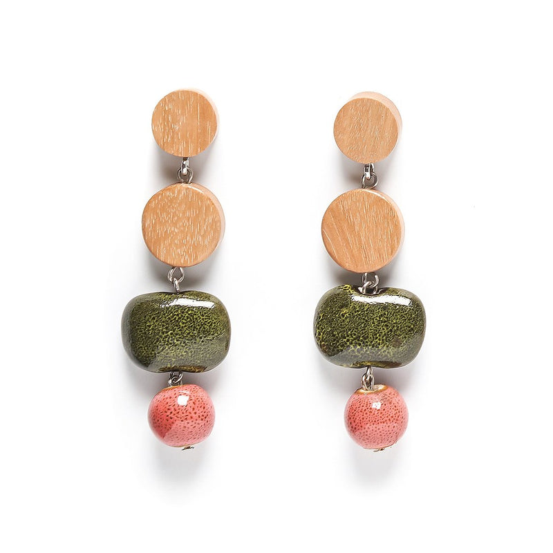 Rare Rabbit Dot Dot Double Ceramic Drop Earrings in Moss