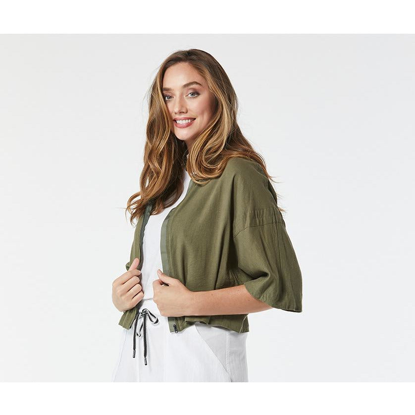 365 Days Zip Front Jacket in Khaki