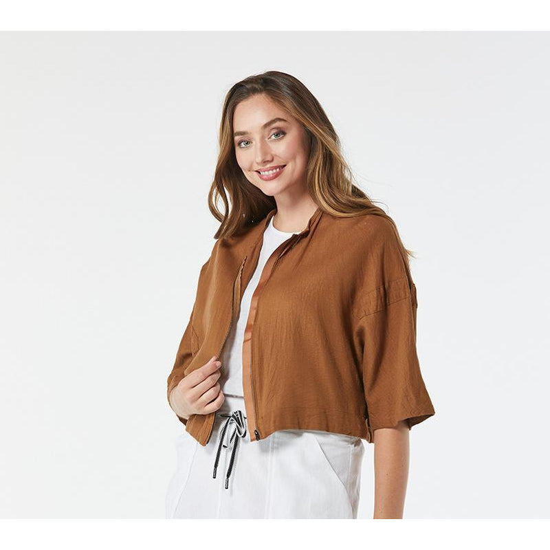 365 Days Zip Front Jacket in Toffee