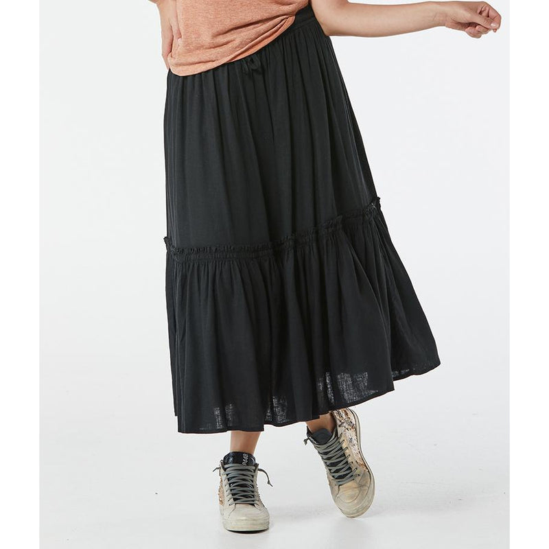 365 Days Linen Mix peasant skirt in Charcoal