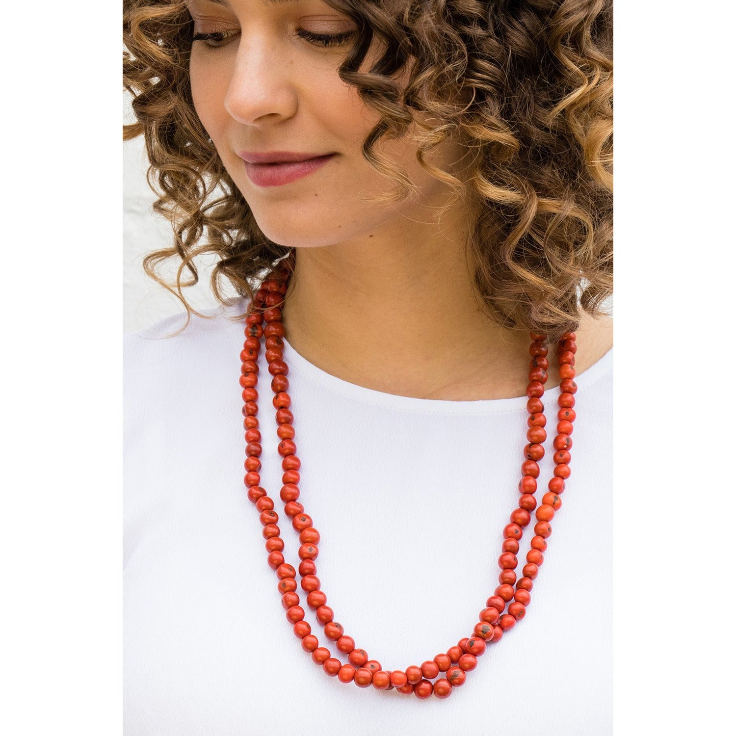 Acai Bead Necklaces by Melko in Tomato Red
