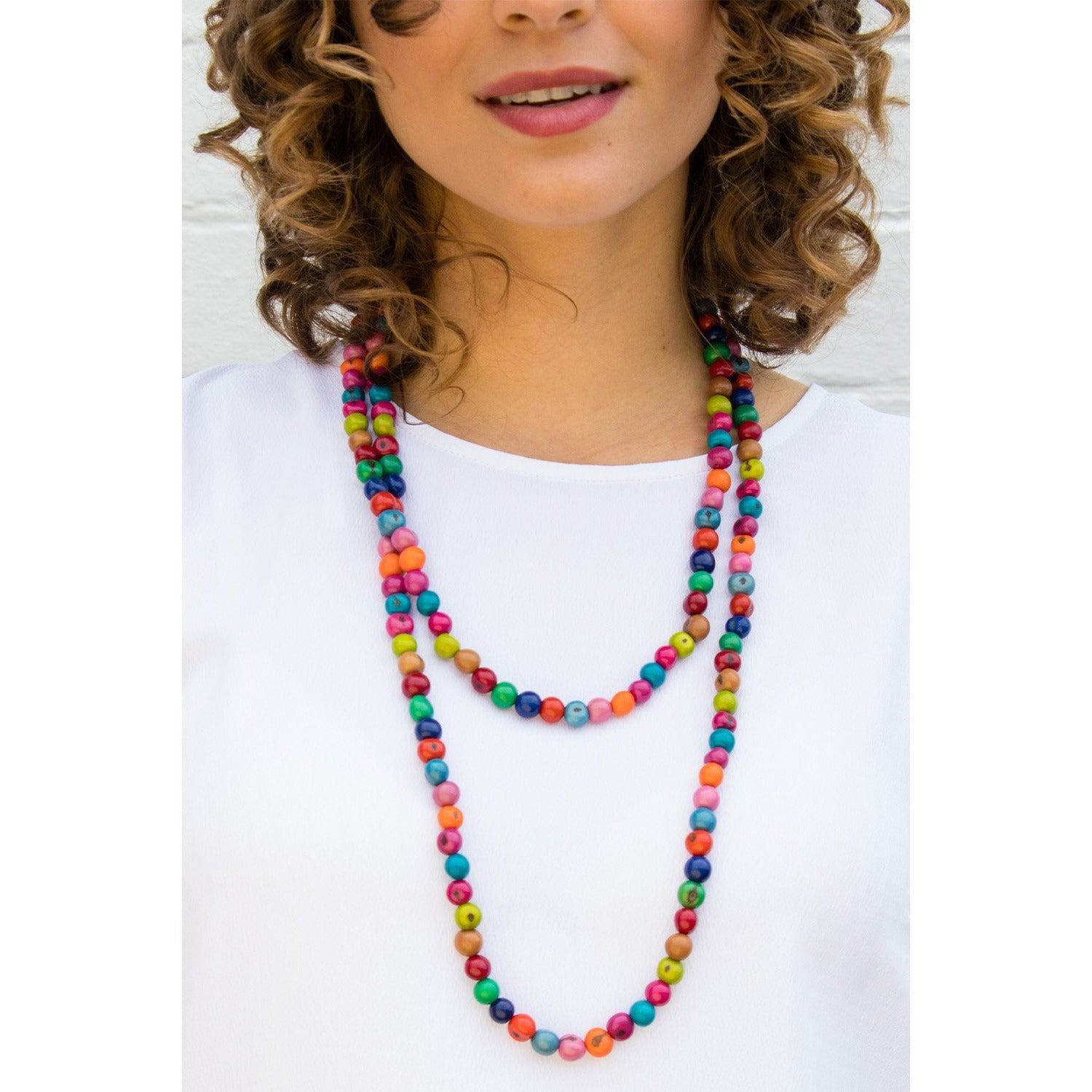 Acai Bead Necklaces by Melko in Multi Pop