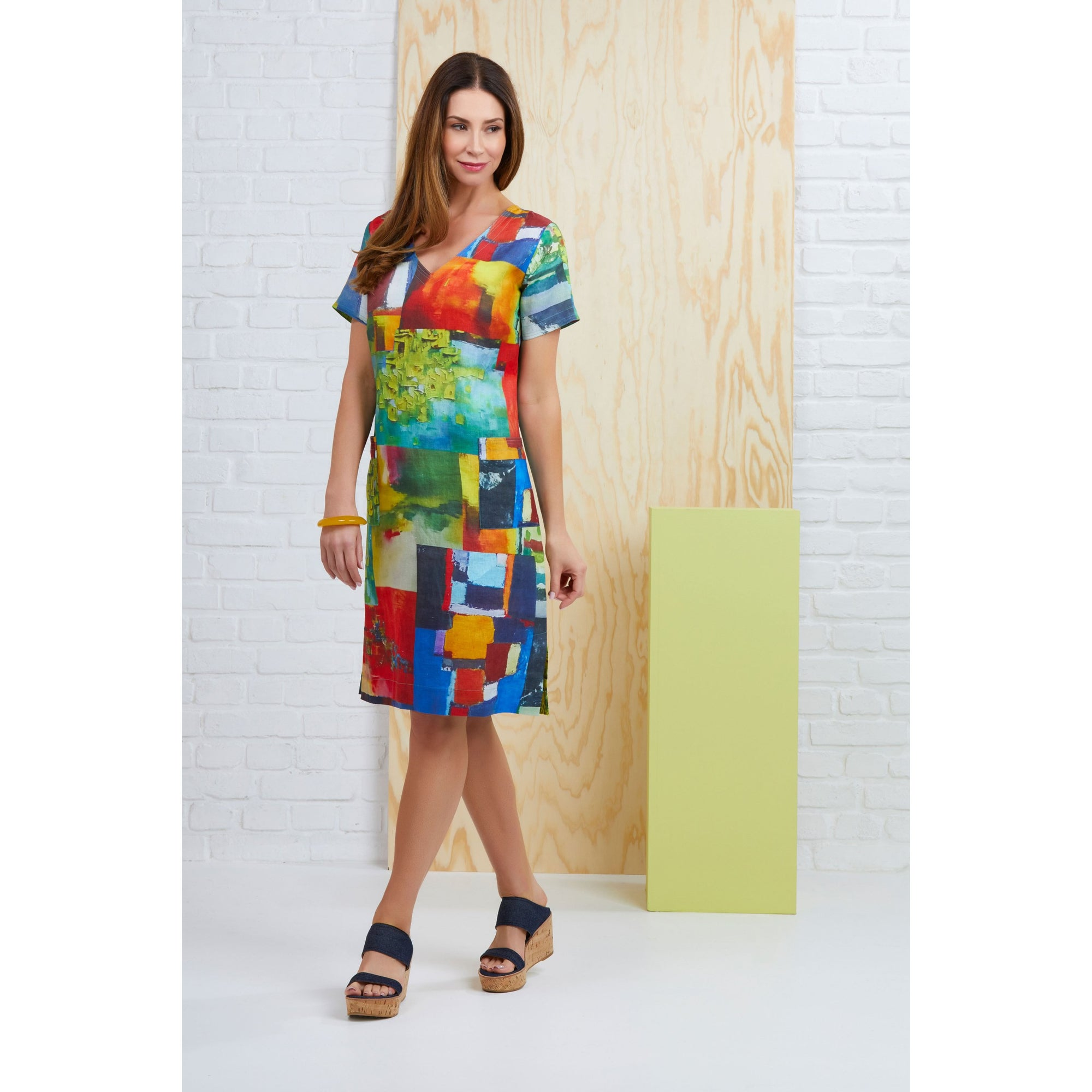 Foil Global Gathering Linen Dress in Urban Scrawl