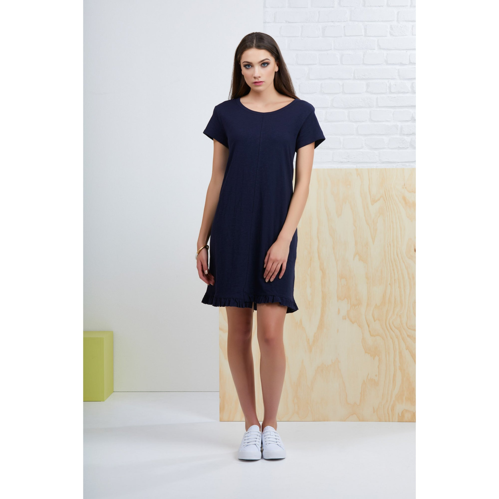 Foil Frill of it All Tee Dress in True Navy