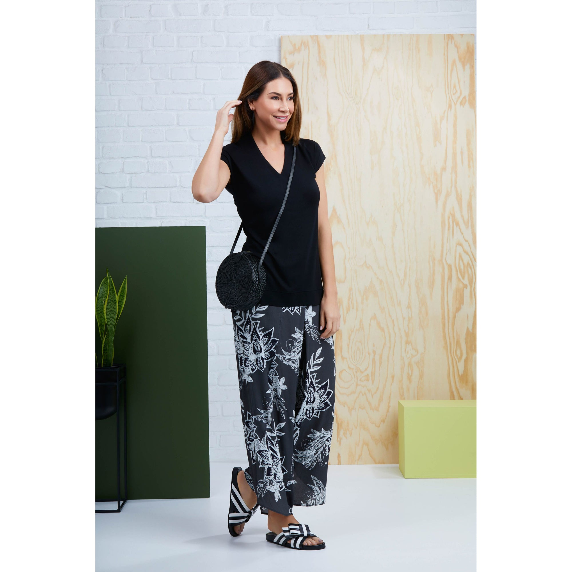 Foil Light Less Ordinary Pant in Cocoa Republic print.