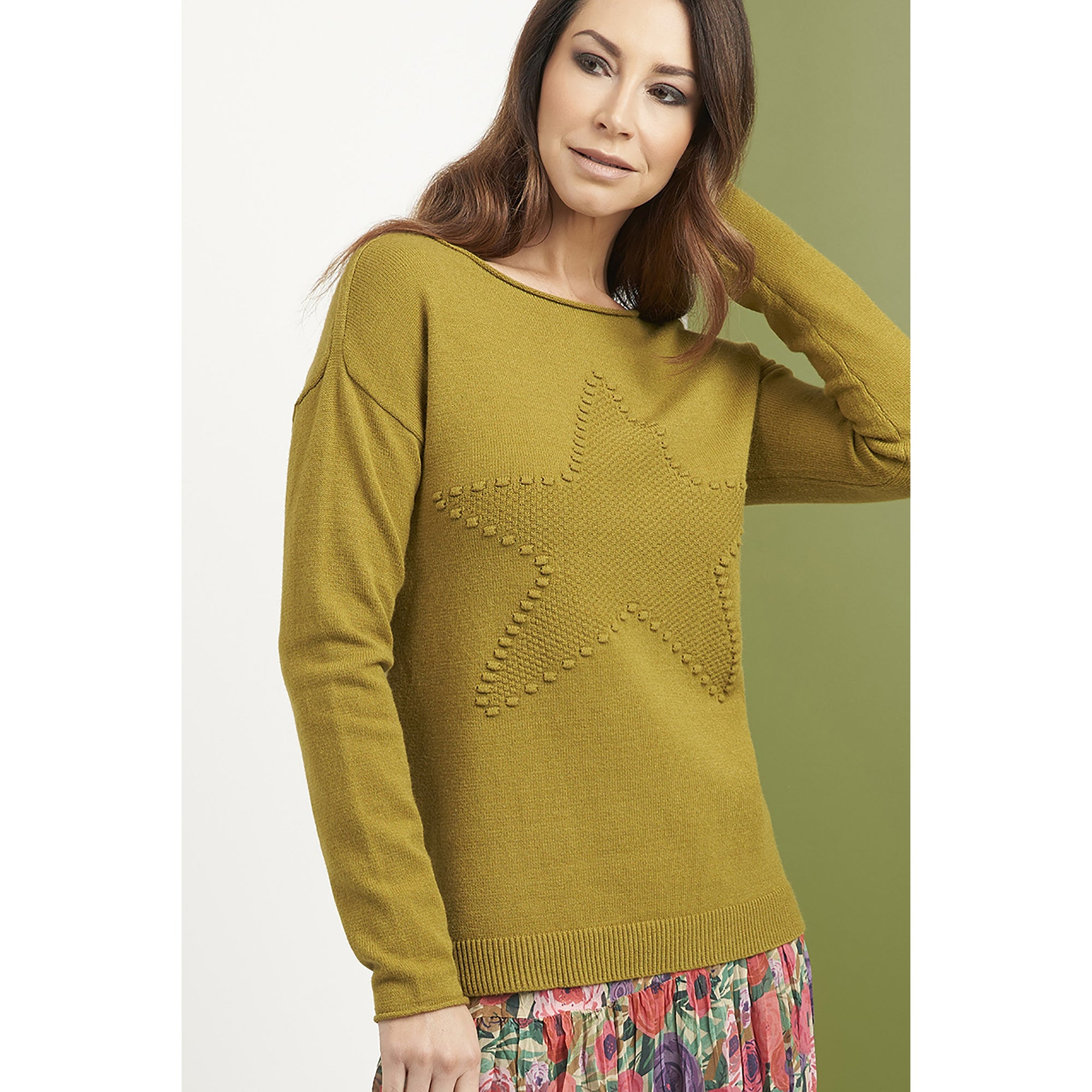 Foil Star Performance Sweater in Grassy