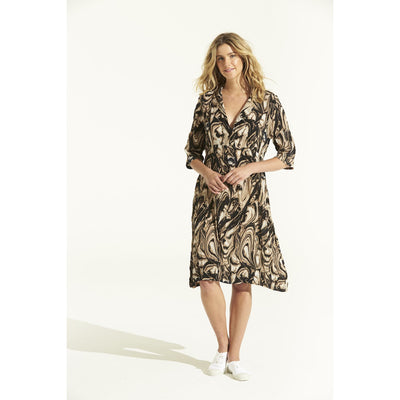 oneseason Jazz Dress in Porto Sand Viscose Print