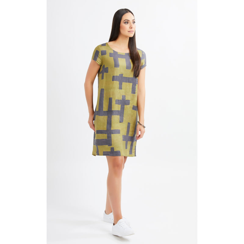 Foil Hot and Bold Linen Shift dress in T bird Print