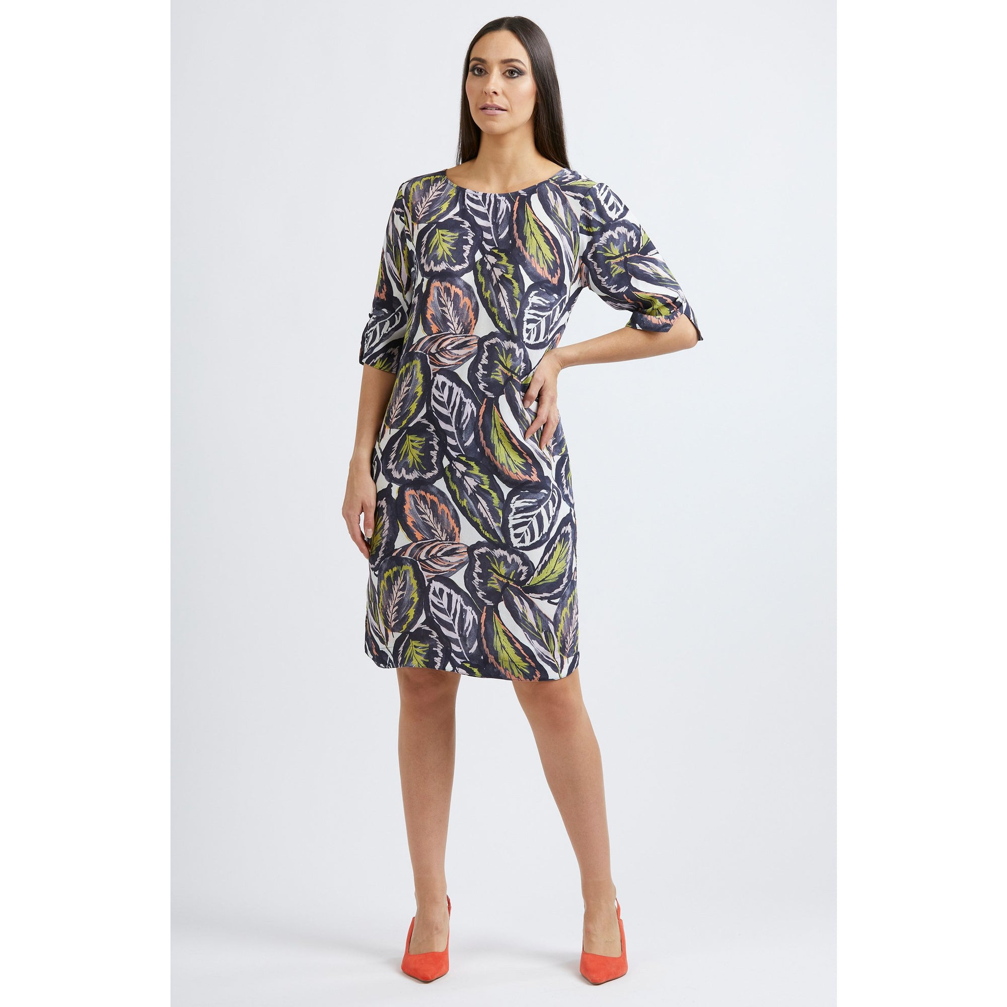 Foil All About Sleeves Shift Dress in Tropical Leaf print