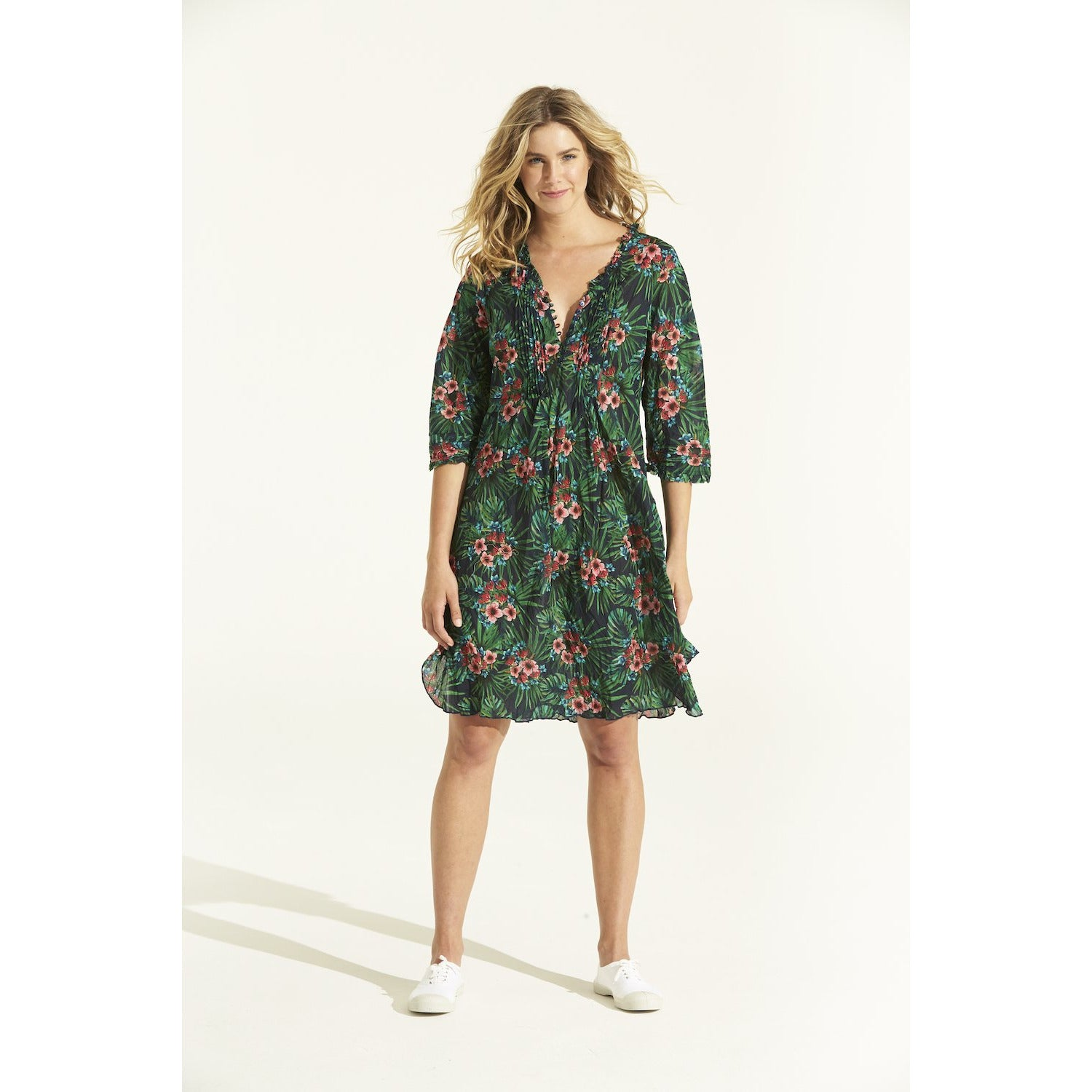 oneseason Middy Poppy Dress Honolulu Emerald cotton print.