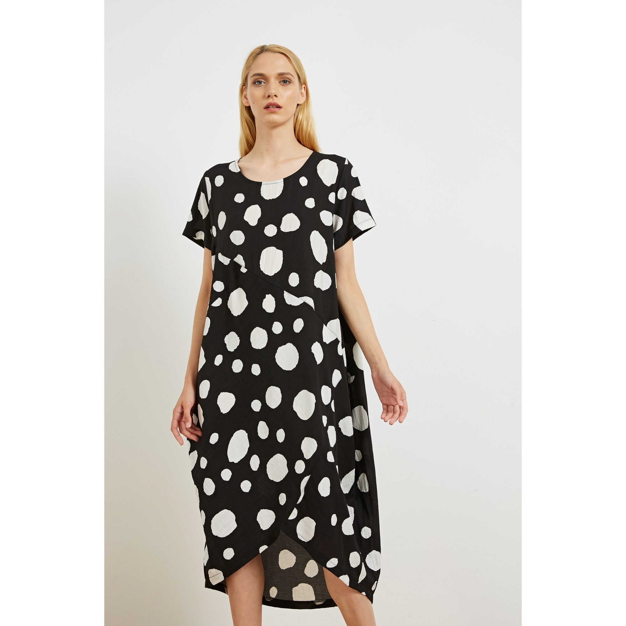 Tirelli Marow Dress Black and White Spot Print.