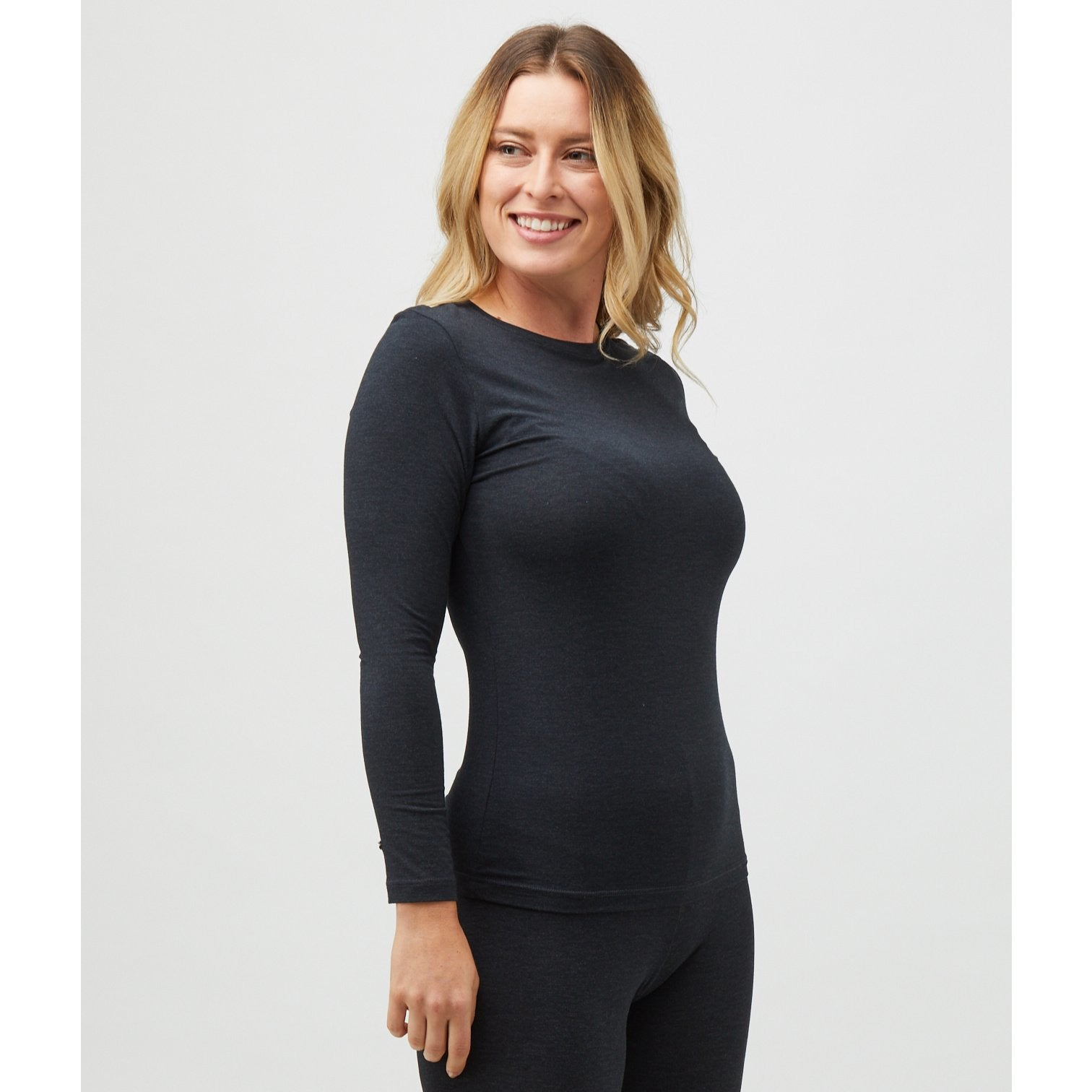Tani Round neck Long sleeve fitted Tee Top in Graphite Marle