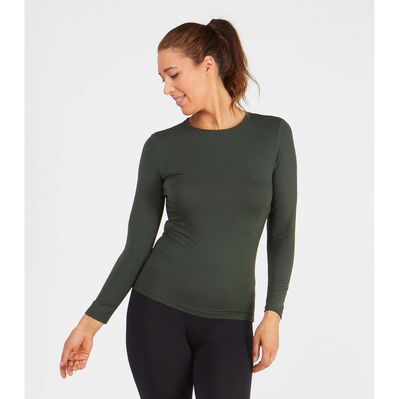 Tani Round neck Long sleeve fitted Tee Top in Plain colours.