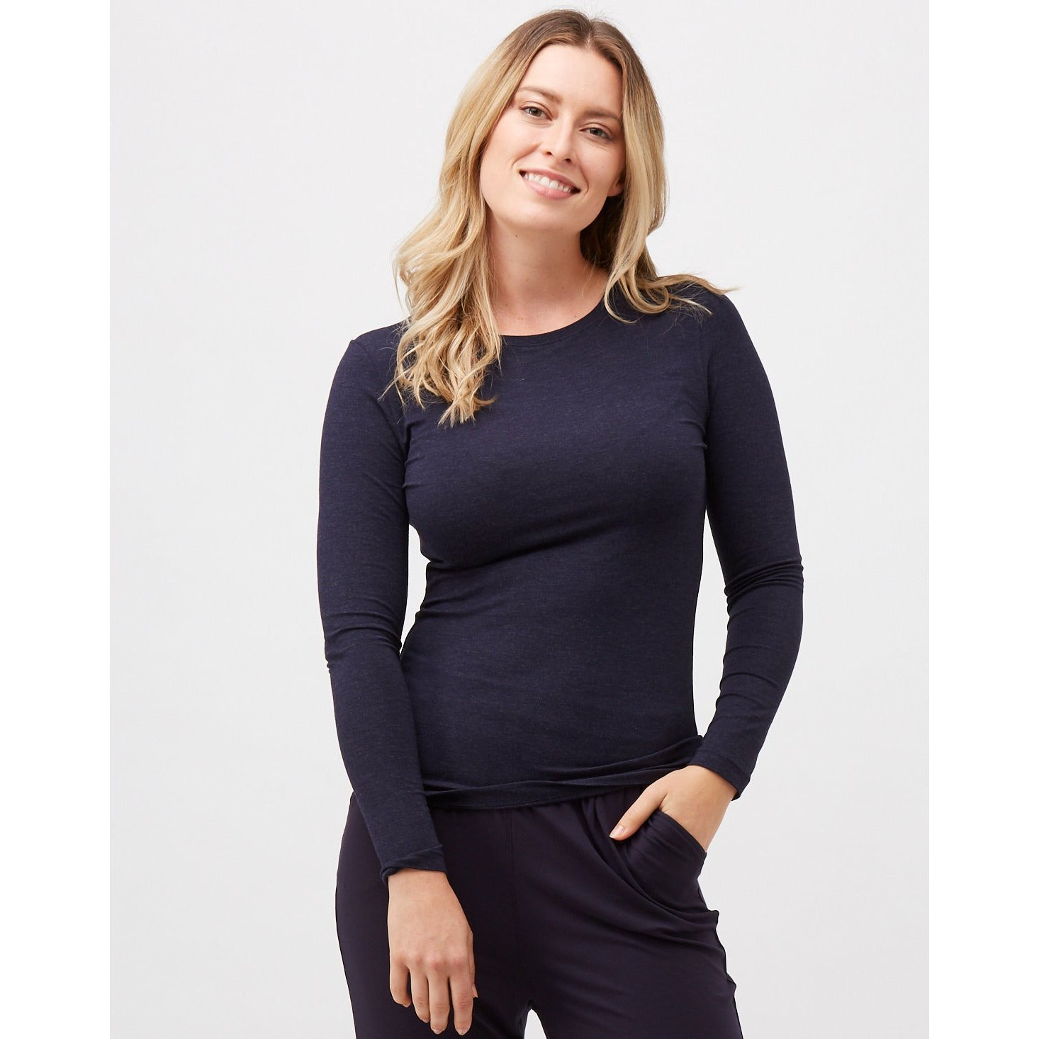 Tani Round neck Long sleeve fitted Tee Top in Midnight Marle