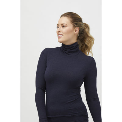Tani Long Sleeve Turtle Neck Top in Midnight Marle AVAILABLE MARCH