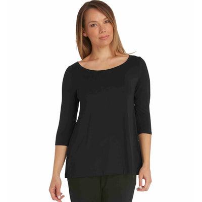 Tani 3/4 sleeve scoop neck swing top in plain colours .