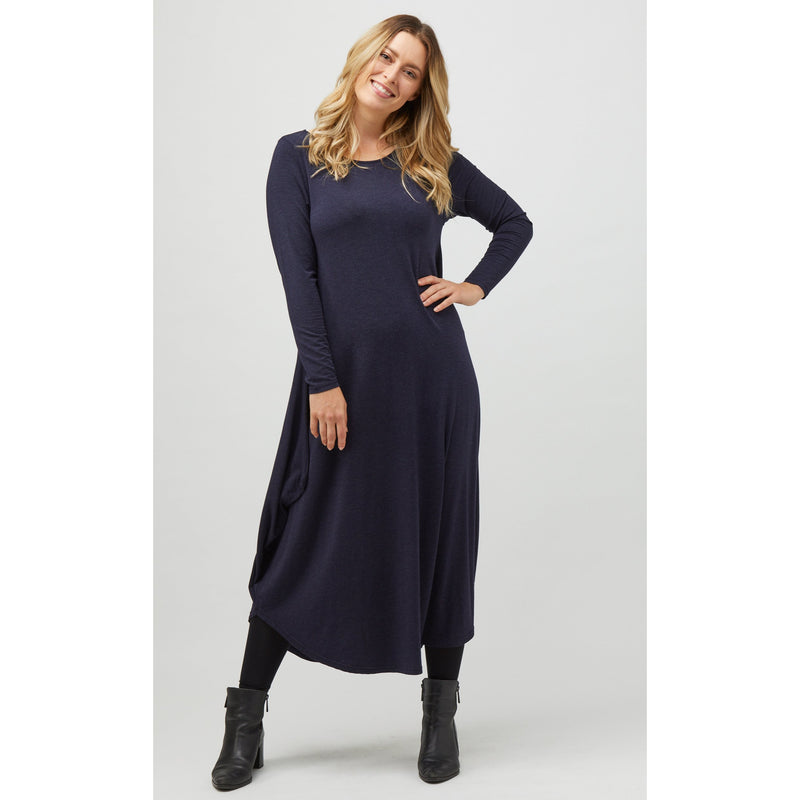 Tani Long Sleeve Tri Dress in Midnight Marle