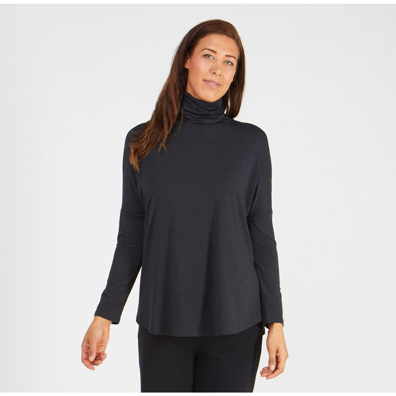 Tani Long Swing Turtle Neck Top in Graphite Marle