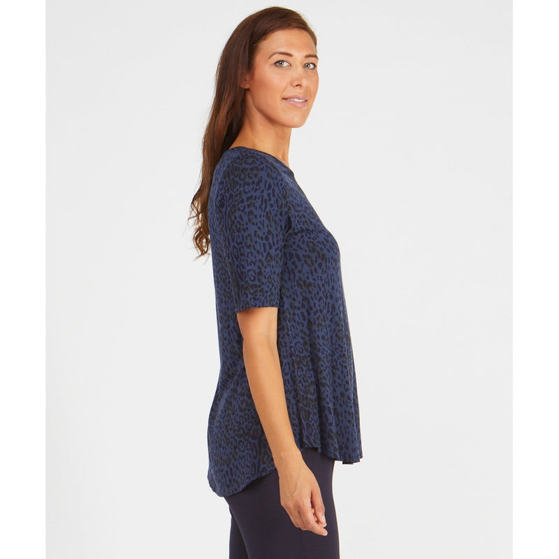 Tani Elbow sleeve swing top in Wild Indigo Print