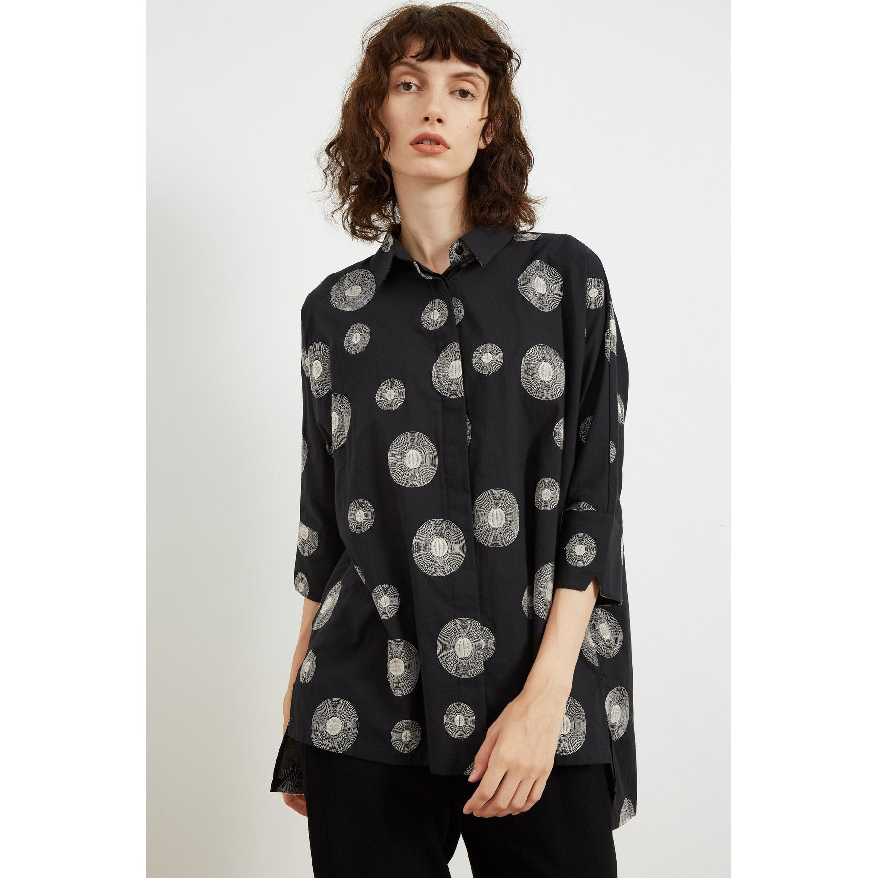 Tirelli Three Quarter sleeve Embroidered Shirt in Black beige