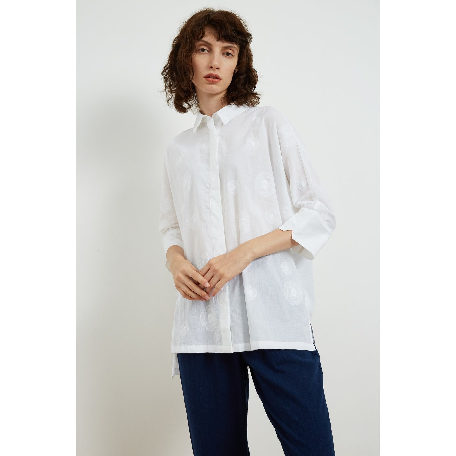 Tirelli Three Quarter sleeve Embroidered Shirt in White
