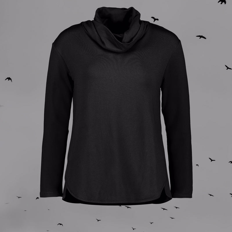 Foil Soft Serve Deluxe Cowl Neck Top in Black