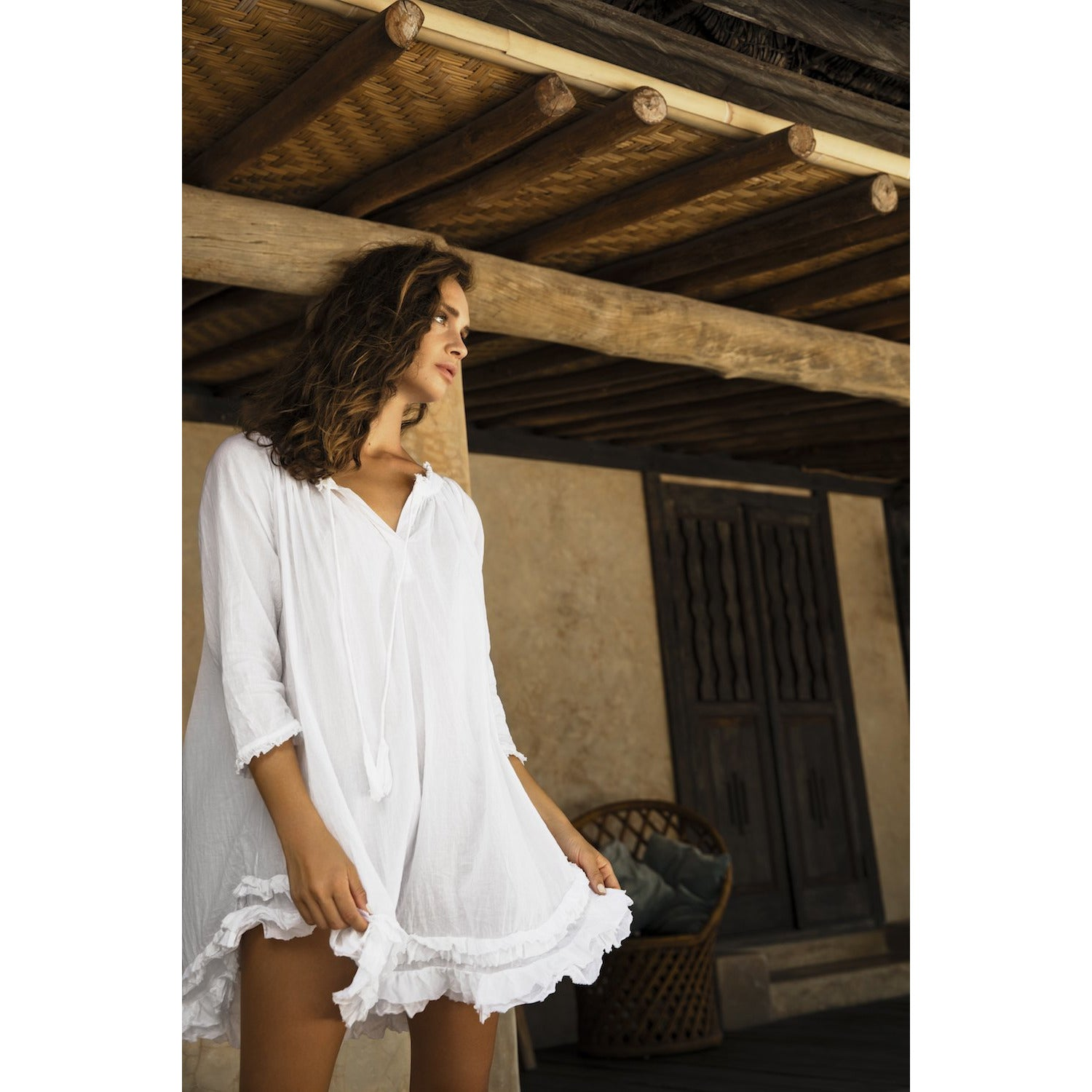 Oneseason Frilly White Tunic