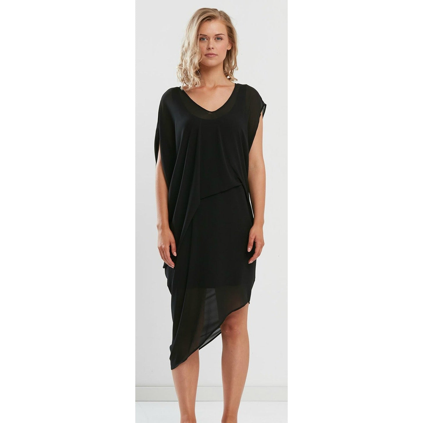 Faye Brown Drape Dress