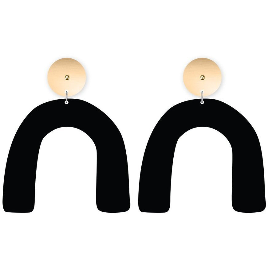 Moe Moe Design Reversible Black Arch Drop Stud Earrings