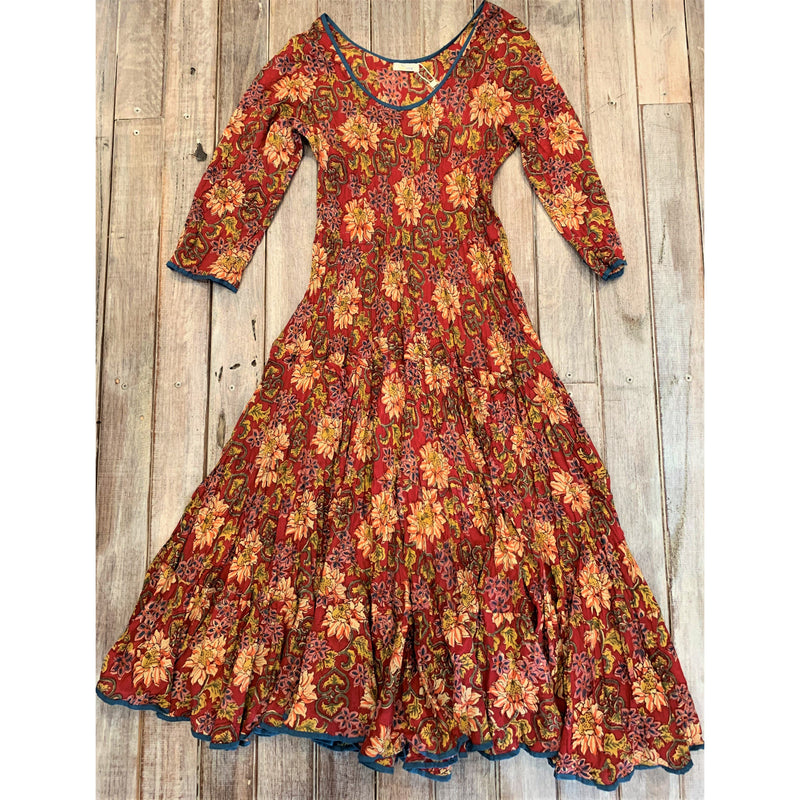 Soulsong Flamenco Dress with Sleeves in Autumn Garden