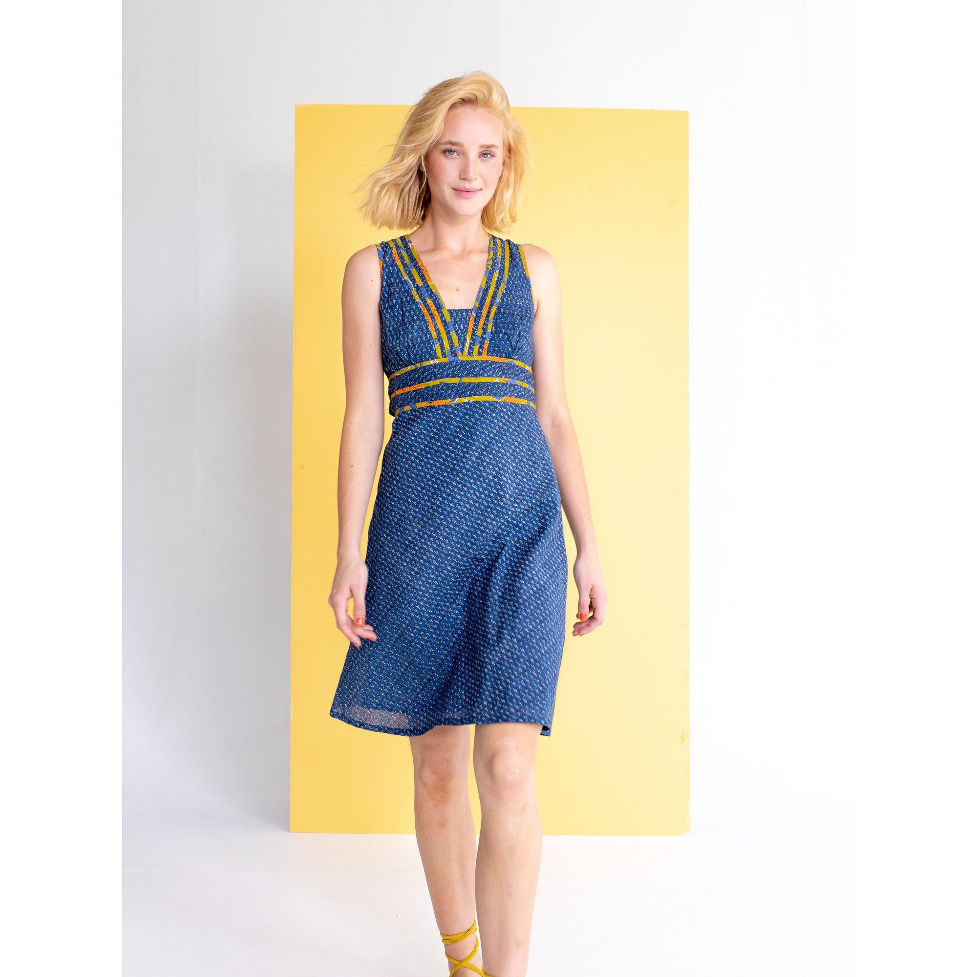Boom Shankar Olivia Dress in Sapphire block print.