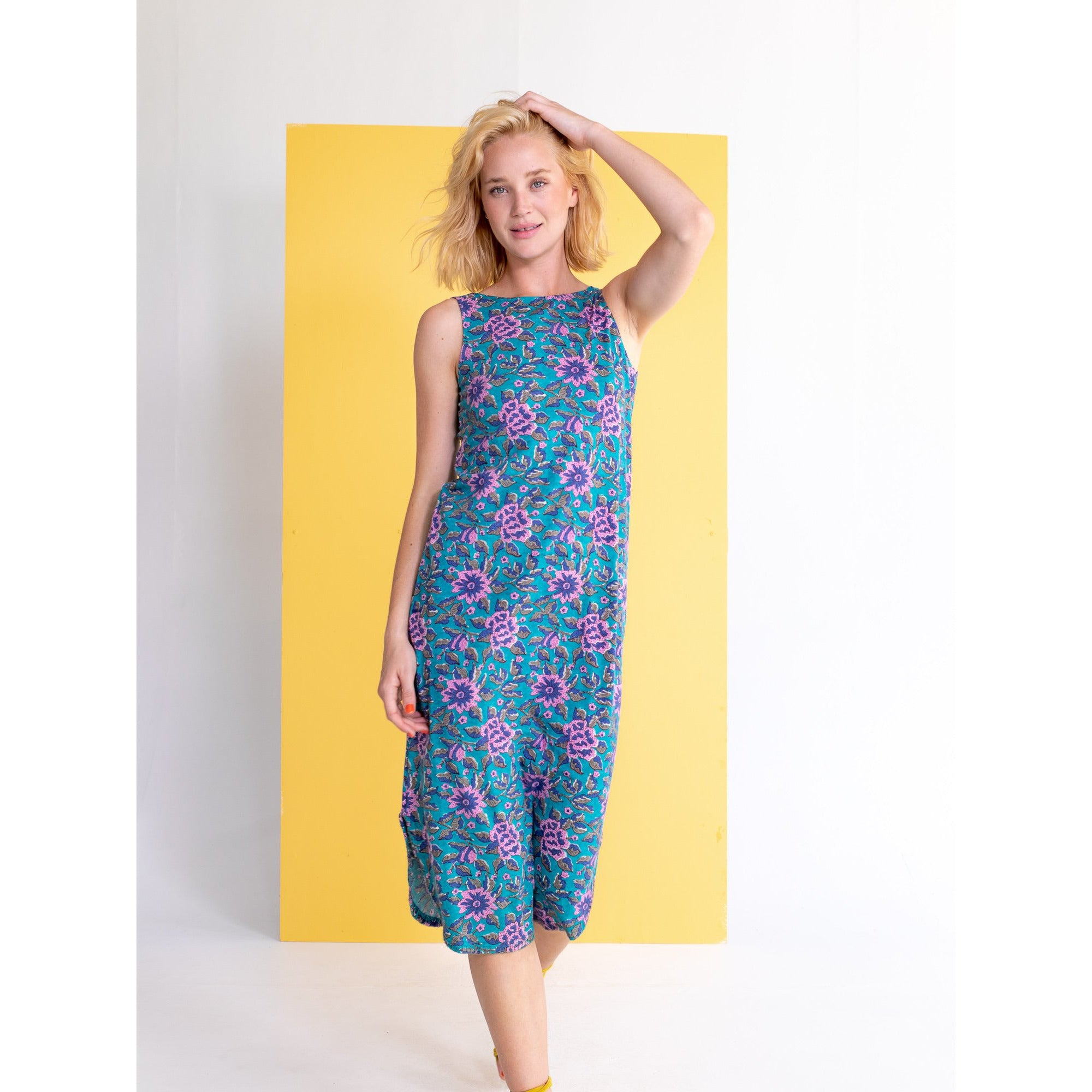 Boom Shankar Lalar Dress in Jade Lotus Print