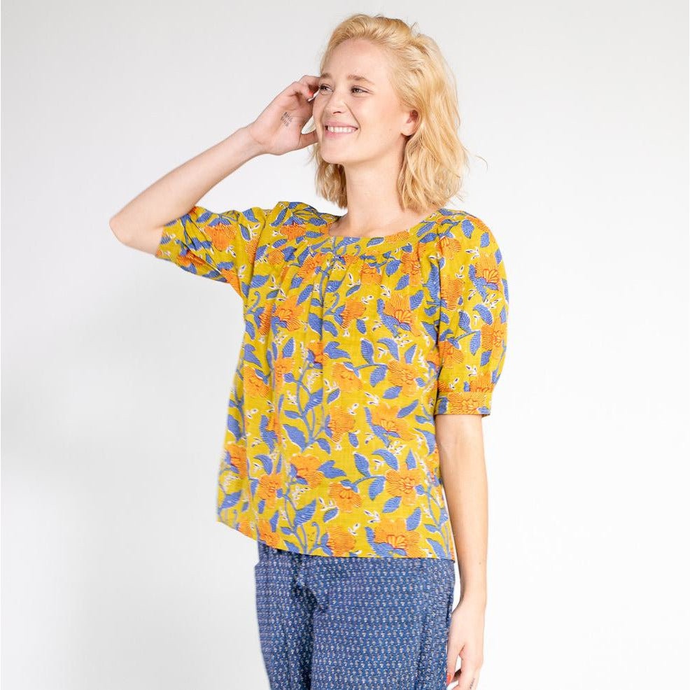 Boom Shankar Bliss Top in Marigold Block Print