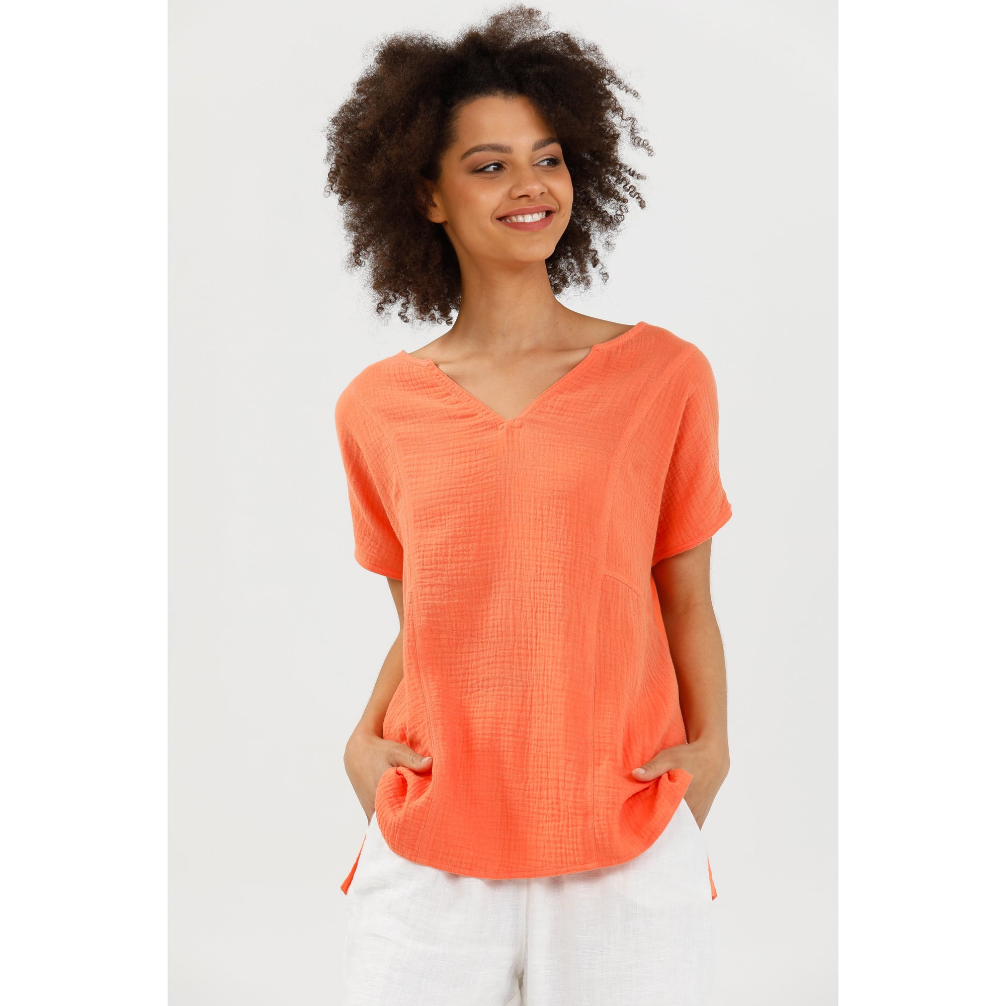 Brave+True Celeste Short Sleeve Cotton Top in Coral