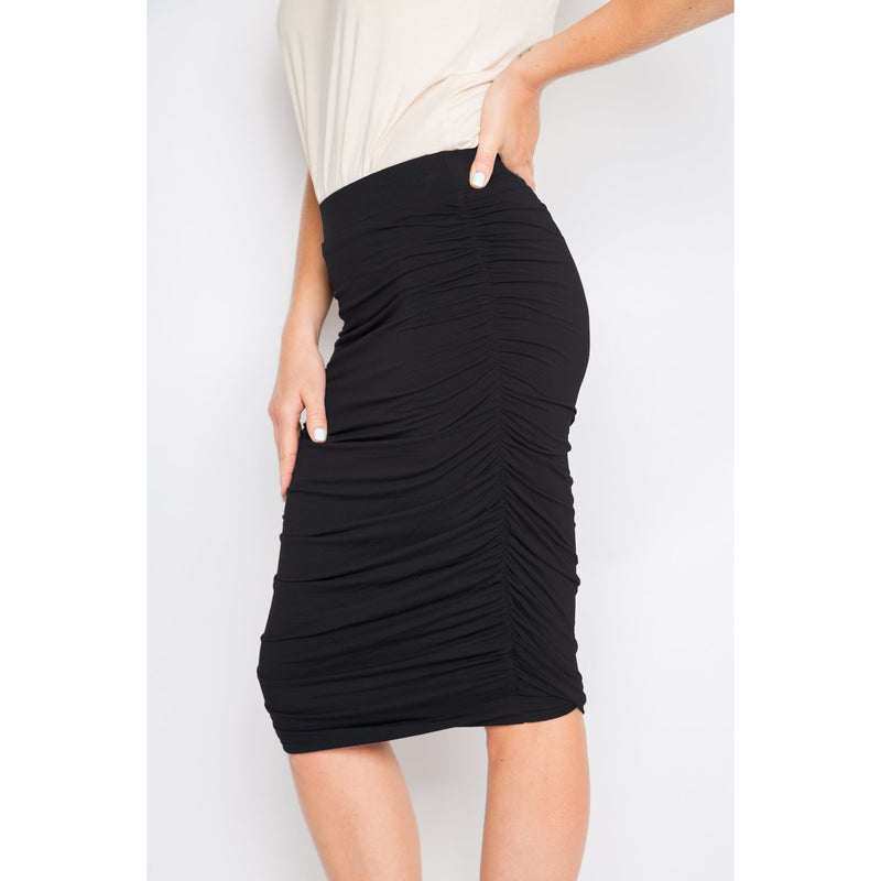 PQ COLLECTION Ruche Skirt in Black