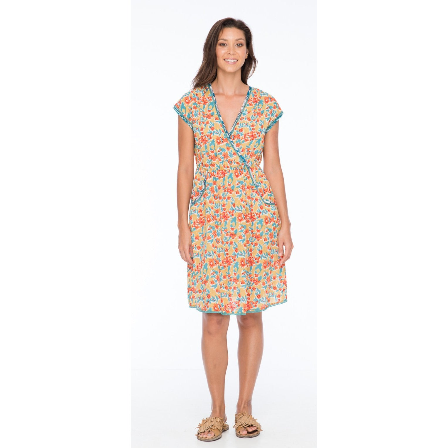 Boom Shankar Betti Dress in Sweet-pea Block Print