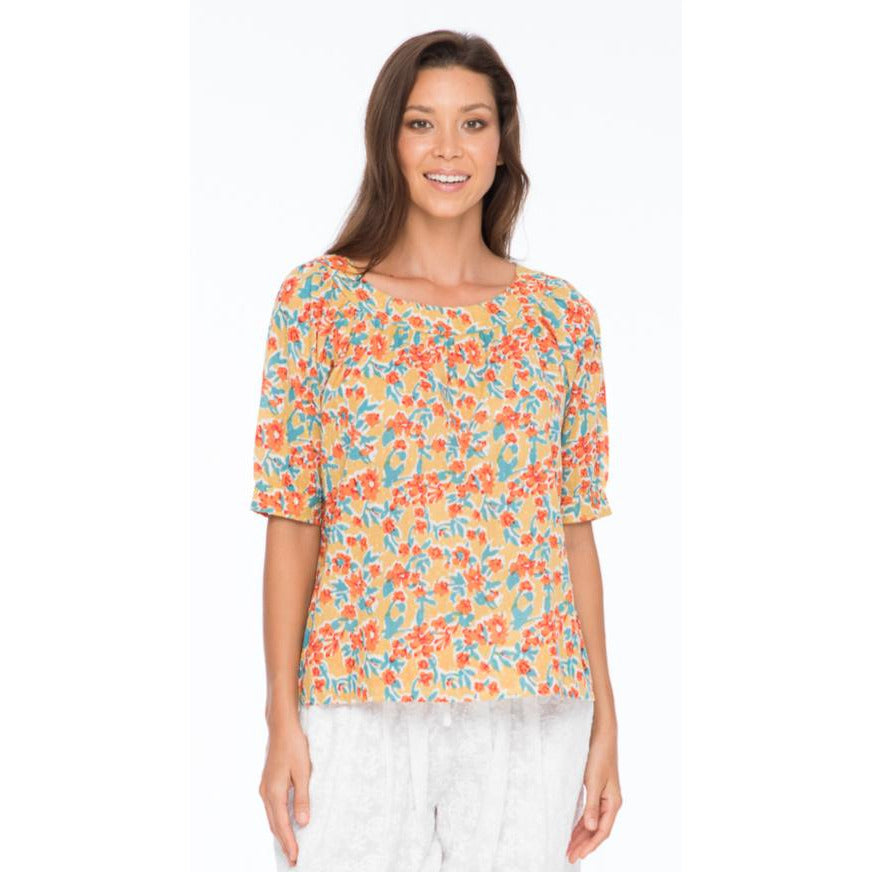 Boom Shankar Bliss Top in Sweet-pea Block Print
