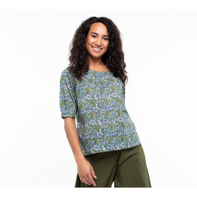 Boom Shankar Bliss Top in Blue ginger print