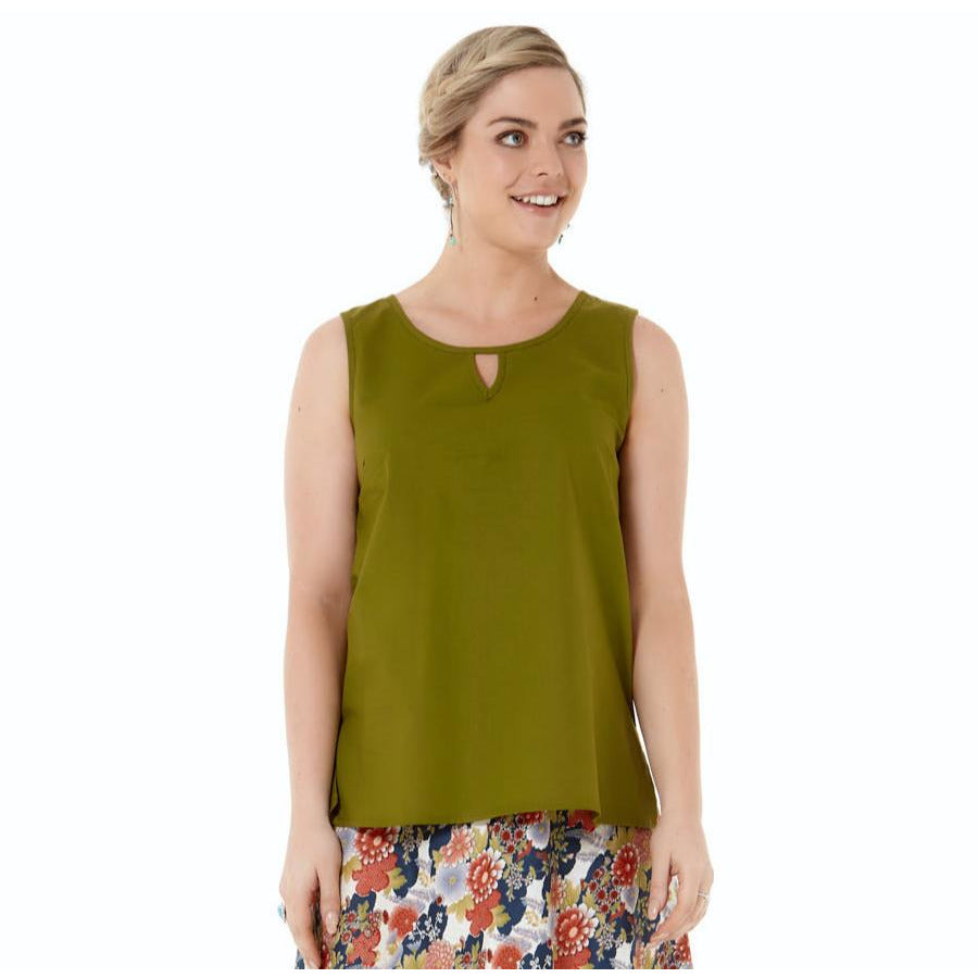 Rasaleela Marti Cotton Top with Keyhole front in Olive.